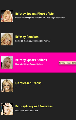 Britney Spears iPhone application
