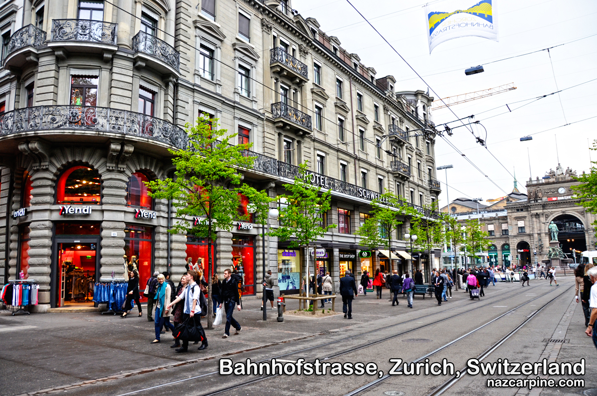 Bahnhofstrasse is Zurich's main downtown street and one of the world's ...